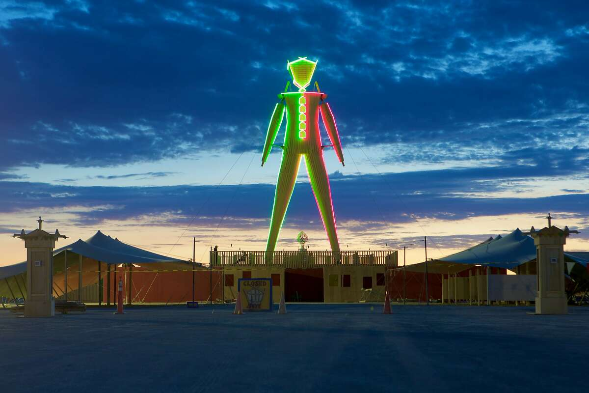 The man stands tall at the 2015 Burning Man festival in the Black Rock Desert in Nevada.