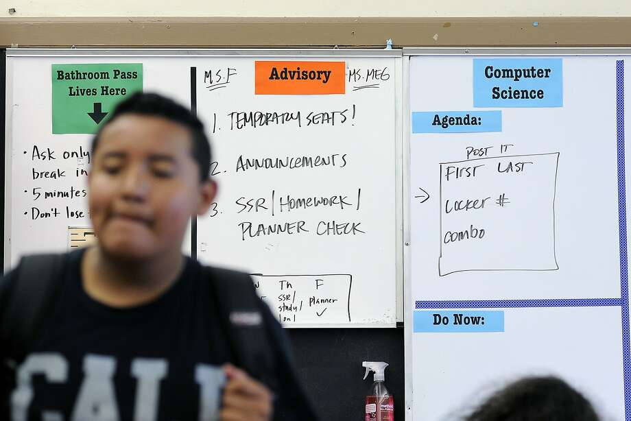 A white board announces the schedule for the First Graduation advisory class for 7th graders at James Denman Middle School in San Francisco, CA Friday, August 28, 2015. Photo: Michael Short, Special To The Chronicle