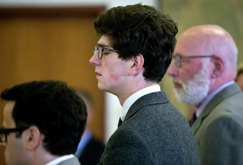 Owen Labrie anxiously awaits his verdict on Friday at Merrimack County Superior Court in Concord, N.H.  Labrie was cleared of felony rape but convicted of misdemeanor sex offenses against a 15-year-old girl in a case that exposed a prep school's campus tradition. Photo: Geoff Forester, POOL / POOL The Concord Monitor