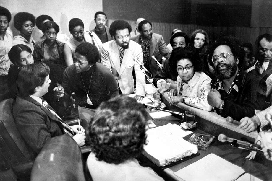 The meeting Rev. Cecil Williams (right) leads protesters at the Board of Education meeting in August 1972. Photo: Dave Randolph / Dave Randolph / The Chronicle 1972 / ONLINE_YES