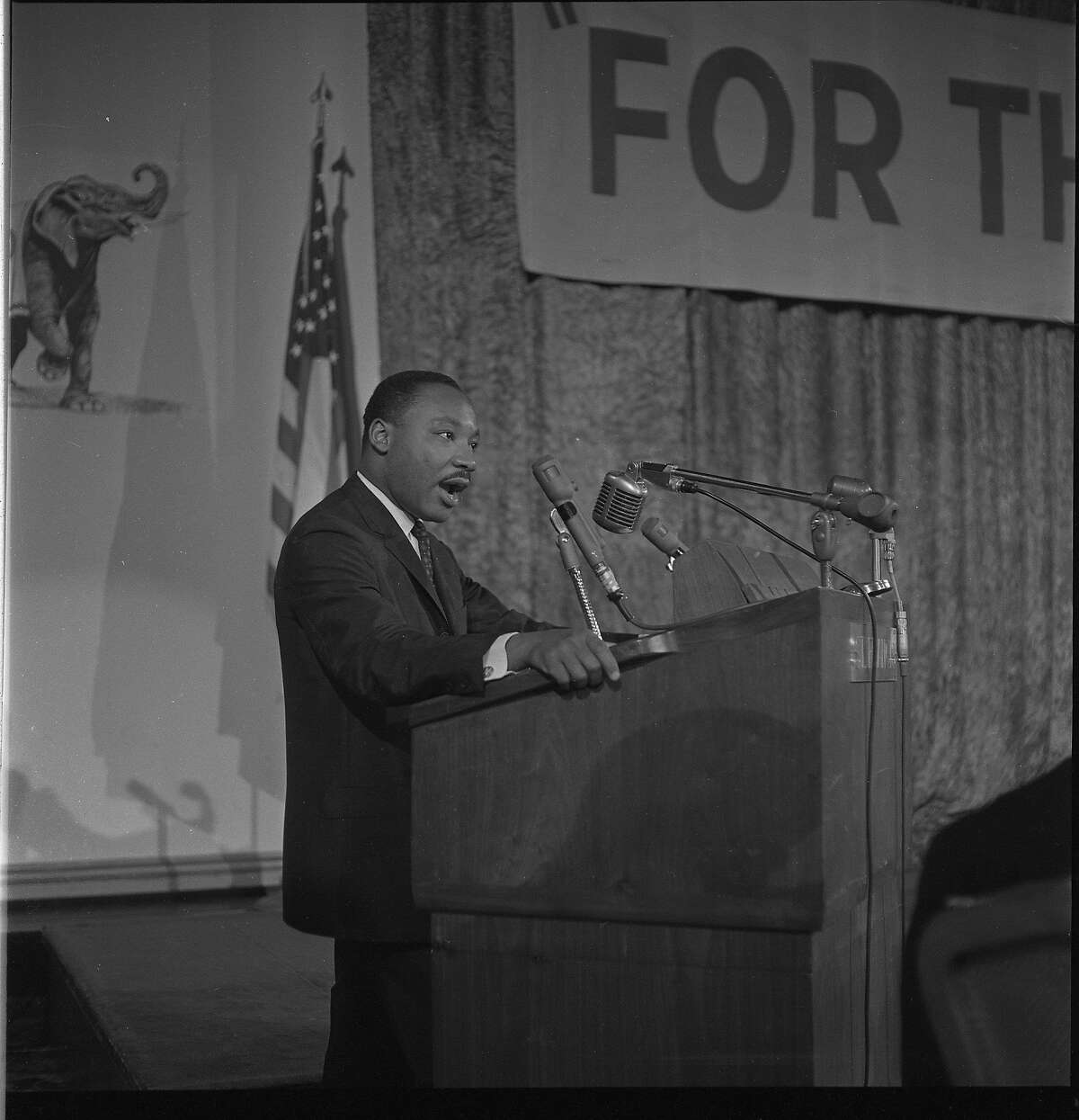 Martin Luther King addressing the Platform Committee for the Republican National Convention held in San Francisco 1964.