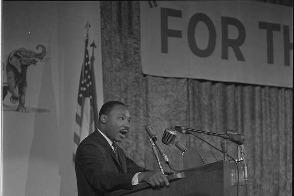 Martin Luther King addressing the Platform Committee for the Republican National Convention held in San Francisco 1964