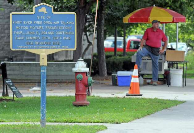 A hot dog vendor stands ready for business in front of Town Hall as SALT and Schoharie County celebrated four years of remarkable community recovery with a press conference on the steps of The Parrott House on Friday Aug. 28, 2015 in Schoharie, N.Y.  (Michael P. Farrell/Times Union) Photo: Michael P. Farrell / 00033158A