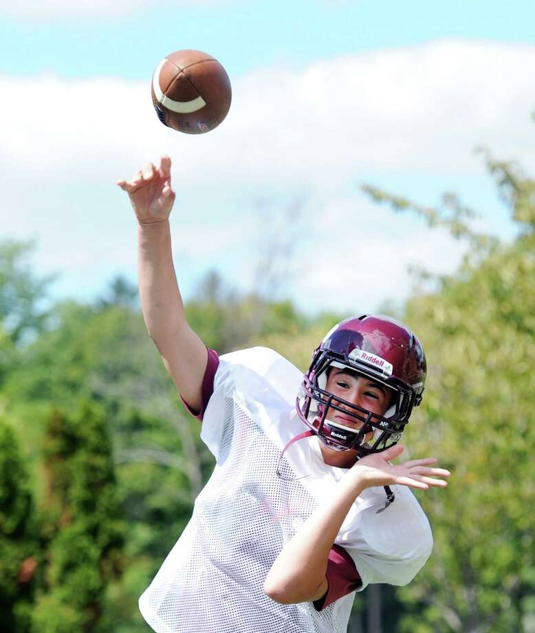 St. Luke's School quarterback Will Pond throws during football practice at the school in New Canaan, Conn., Friday, Aug. 28, 2015. Photo: Bob Luckey Jr. / Hearst Connecticut Media / Greenwich Time