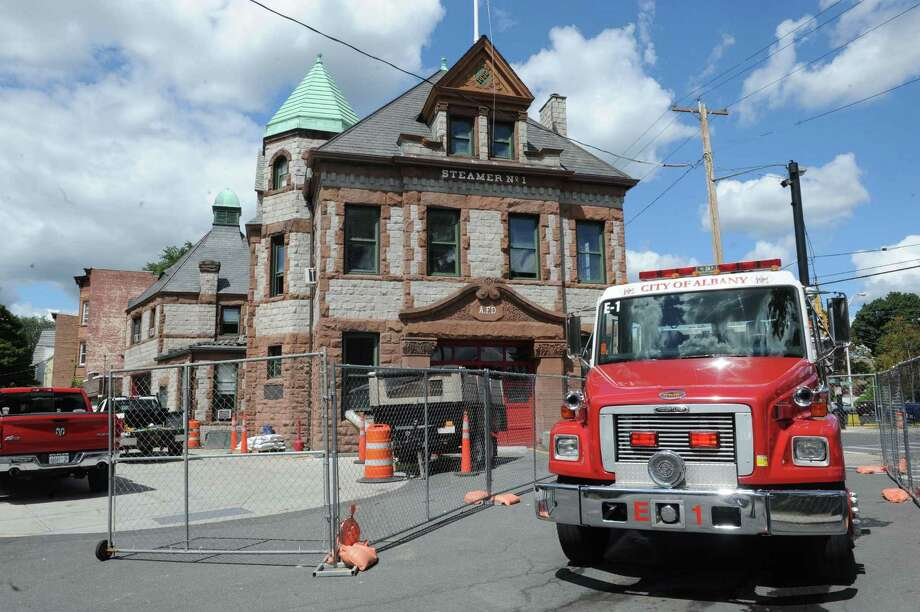 Floors are being reinforced to accommodate newer, heavier fire engines in the 19th-century Engine 1 station at Western and Washington Avenues on Friday Aug. 28, 2015 in Albany, N.Y.  (Michael P. Farrell/Times Union) Photo: Michael P. Farrell / 00033171A