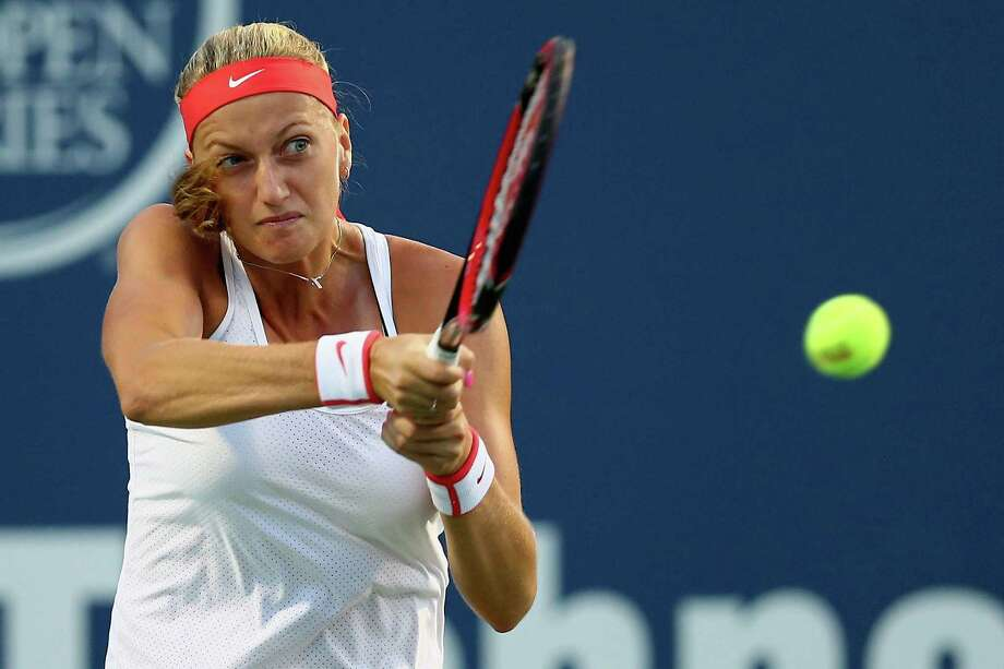 NEW HAVEN, CT - AUGUST 28:  Petra Kvitova of Czech Republic returns a backhand to Caroline Wozniaki of Denmark during the semifinal round of the Connecticut Open at Connecticut Tennis Center at Yale on August 28, 2015 in New Haven, Connecticut. Photo: Maddie Meyer, Getty Images / 2015 Getty Images