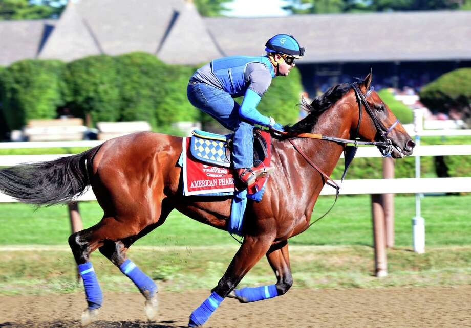 Triple Crown winner and Travers hopeful American Pharoah, with exercise rider George Alvarez, works out at Saratoga Race Course on Friday, Aug. 28, 2015, in Saratoga Springs, N.Y. (Phoebe Sheehan/Special to The Times Union) Photo: PS / 00033155B