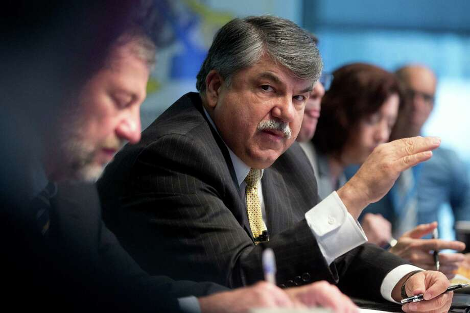 Richard Trumka, president of the AFL-CIO, speaks during an interview in Washington, D.C., U.S., on Tuesday, March 11, 2014. Trumka said the AFL-CIO hasn't given up on key 2014 policy priorities despite inaction in Congress including a pending measure to raise the nation's minimum wage to $10.10 an hour and a long-term bill funding highway construction and mass transit. Photographer: Andrew Harrer/Bloomberg *** Local Caption *** Richard Trumka Photo: Andrew Harrer / © 2014 Bloomberg Finance LP