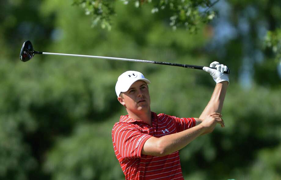Jordan Spieth watches his shot from the 12th tee during the second round of The Barclays golf tournament, Friday, Aug. 28, 2015, in Edison, N.J. (Michael Karas/Northjersey.com via AP) ORG XMIT: NJHAC325 Photo: Michael Karas / Northjersey.com