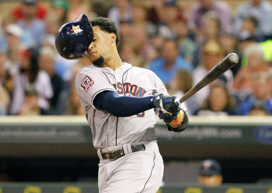 Like several of his teammates, the Astros' Carlos Gomez was made to look silly at the plate in Friday night's loss to the Minnesota Twins. Photo: Ann Heisenfelt, FRE / FR13069 AP