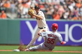 SAN FRANCISCO, CA - AUGUST 29:  Kelby Tomlinson #37 of the San Francisco Giants completes a double play over Stephen Piscotty #55 of the St. Louis Cardinals during the first inning at AT&T Park on August 29, 2015 in San Francisco, California.  (Photo by Jason O. Watson/Getty Images)