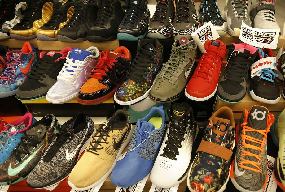 Shoe varieties on display at the Sneaker Court table during KicksFest San Francisco, a show for buying, selling or trading of athletic footwear at the San Mateo County Expo Center on Aug. 29 in San Mateo. Photo: Michael Macor, The Chronicle