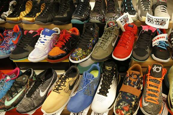 Shoe varieties on display at the Sneaker Court table during San Francisco Kickfest  event, a buying, selling or trading of athletic footwear at the San Mateo County Expo Center on Sat. August 29, 2015, in San Mateo, Calif.