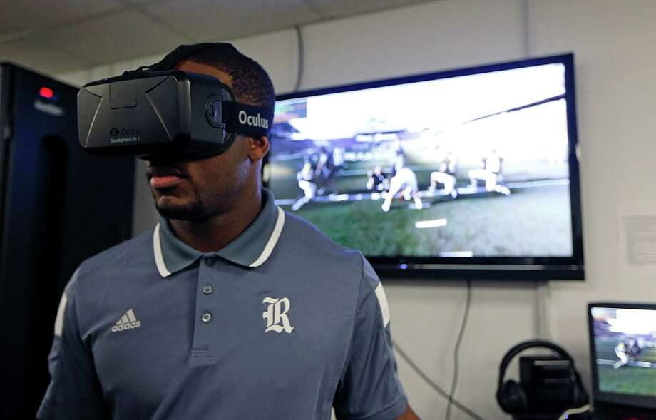 """Rice quarterback Driphus Jackson can get an up-close look at defenses without ever stepping onto the field with the STRIVR Labs virtual reality solution platform. """"It's real speed and like game reps,"""" Jackson says. Photo: James Nielsen, Staff / © 2015  Houston Chronicle"""