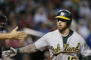 Oakland A's Brett Lawrie shows off his power - Photo