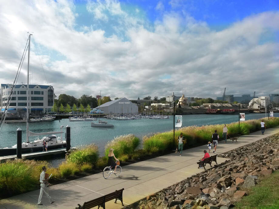 A rendering of the Northeast view of a proposed boatyard, marina and boardwalk at Davenport Landing on Southfield Avenue in Waterside shows developer BLT's latest plan to replace the former Yacht Haven boatyard it tore down. Photo: Contributed Photo / Contributed Photo / The Advocate Contributed