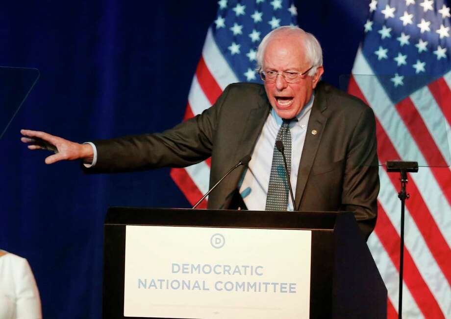 Democratic presidential candidate, Sen. Bernie Sanders, I-Vt,  recently addressed the summer meeting of the Democratic National Committee in Minneapolis. He's scoring high in Iowa. Photo: Jim Mone, STF / AP