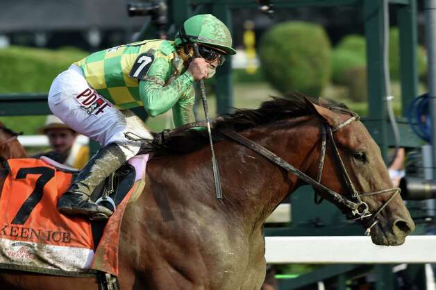 Keen Ice with jockey Javier Castellano,won the 146th running of the Travers Stakes Saturday evening Aug. 29, 2015 at the Saratoga Race Course in Saratoga Springs, N.Y.    (Skip Dickstein/Times Union) Photo: SKIP DICKSTEIN / 00033110A