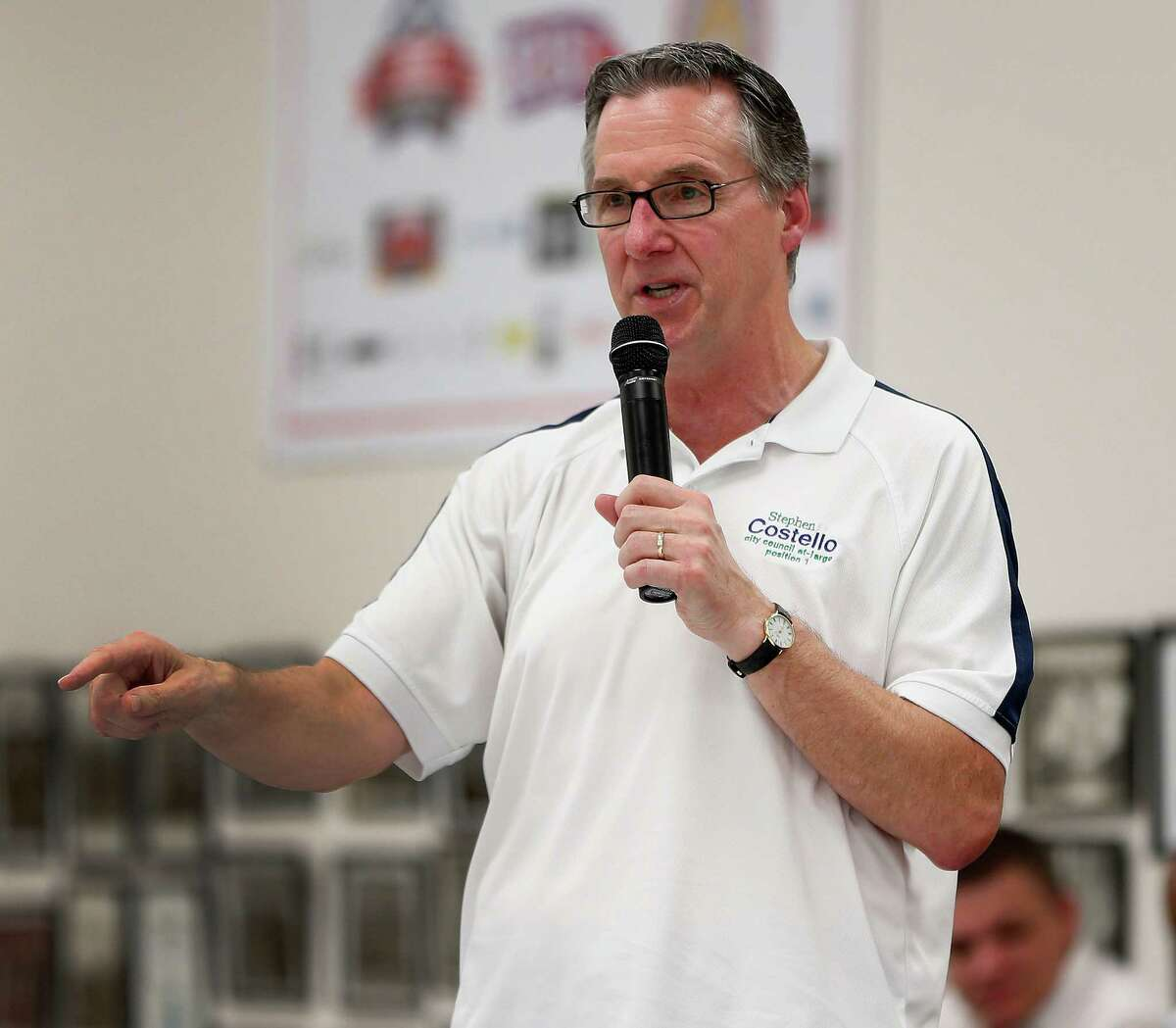Mayoral candidate Steve Costello speaks during the Houston GLBT Political Caucus at the IBEW Hall, where they picked their slate of mayoral, controller and city council candidates on Saturday, Aug. 8, 2015, in Houston. A large crowd of nearly 300 members, was a traditional caucus-style event, with all of the progressive mayoral candidates present.( Karen Warren / Houston Chronicle )