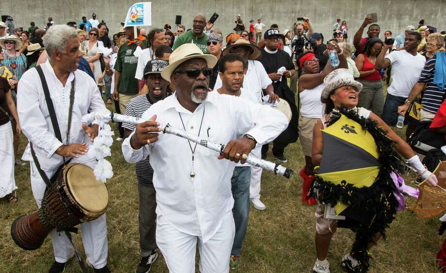 A line march begins in the Lower 9th Ward as the Gulf Coast celebrates a decade of progress since Hurricane Katrina barreled through. The mourning Saturday was balanced by celebration. Photo: Brett Coomer, Staff / © 2015 Houston Chronicle