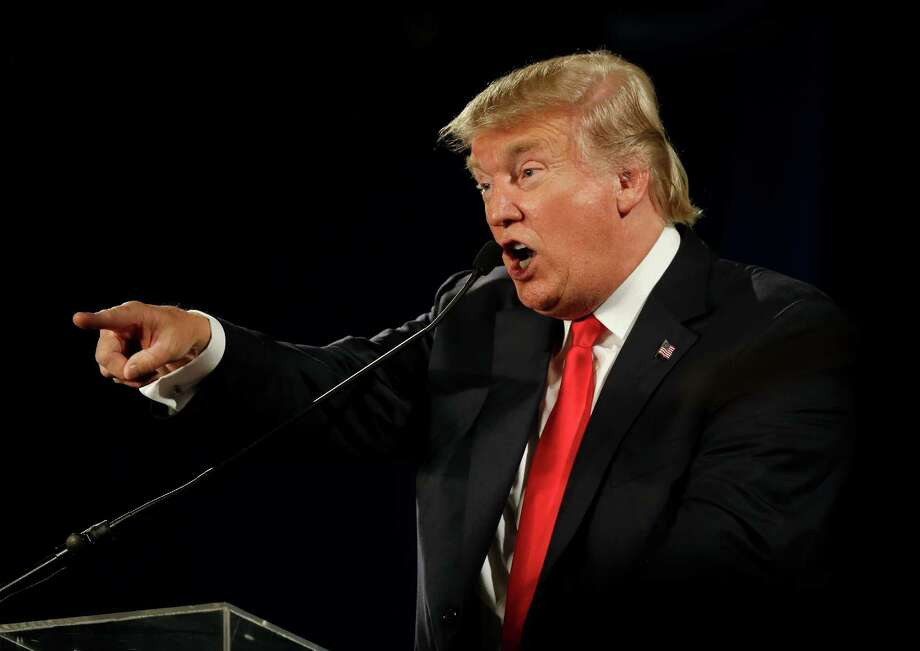 Republican presidential candidate Donald Trump speaks at the National Federation of Republican Assemblies on Saturday, Aug. 29, 2015, in Nashville, Tenn. With more than a year before the presidential election, Trump has been leading summertime polls.   (AP Photo/Mark Humphrey) Photo: Mark Humphrey, STF / Associated Press / AP