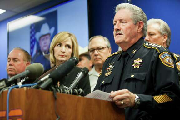 """""""This rhetoric is out of control. I know 'Black Lives Matter', so do our lives. Let's drop this and say 'All Lives Matter,'"""" said Harris County Sheriff Ron Hickman during a news conference about the death of Deputy Darren Goforth."""