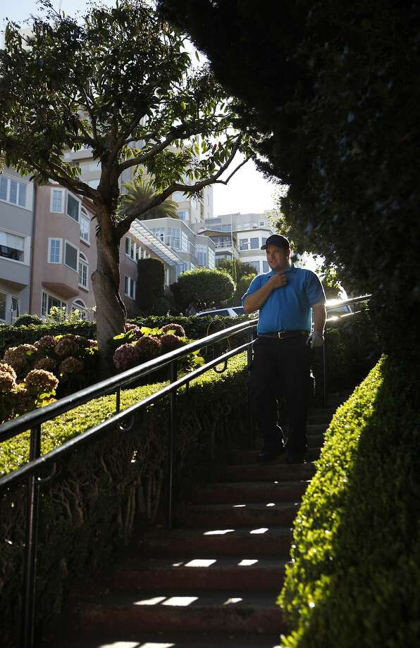 Ambassador Joe Castagnola  walks down a staircase on Lombard Street during his first day of the Lombard Street Ambassador Program on Saturday, August 29, 2015. The program is designed to assist tourists and to address  neighborhood concerns regarding public and pedestrian safety and the extreme traffic congestion that occurs around one of San FranciscoÕs famous landmarks. Photo: Franchon Smith, The Chronicle