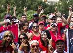 Houston Texans fans gather in Jackson Square before the Texans pre-season game against the New Orleans Saints on Sunday, Aug. 30, 2015, in New Orleans. ( Brett Coomer / Houston Chronicle )