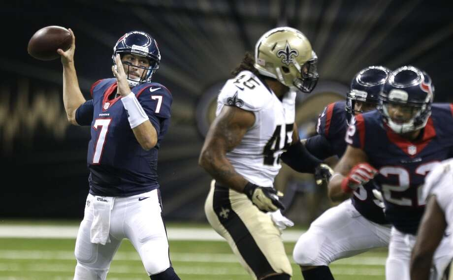 Houston Texans quarterback Brian Hoyer (7) throws a pass against the New Orleans Saints during the second quarter of an NFL pre-season football game at the Mercedes-Benz Superdome on Sunday, Aug. 30, 2015. Photo: Brett Coomer, Houston Chronicle