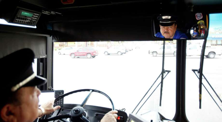 VIA operator Jesse Quintero, who has been driving for the agency since the 1960s, operates his bus Wednesday Dec. 17, 2014. Quintero is one of only a handful of drivers nationwide who have driven 3 million miles without an accident. And Quintero is about 80,000 miles shy of crossing the 4 million mile mark, which he might reach by the end of 2015. Photo: William Luther / San Antonio Express-News / © 2014 San Antonio Express-News
