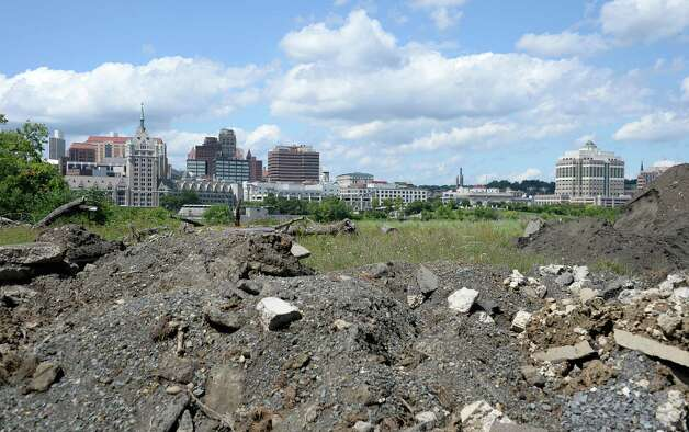 The Albany skyline as viewed from DeLaet's Landing Friday August 21, 2015 in Rensselaer, NY.  (John Carl D'Annibale / Times Union) Photo: John Carl D'Annibale / 00033082A