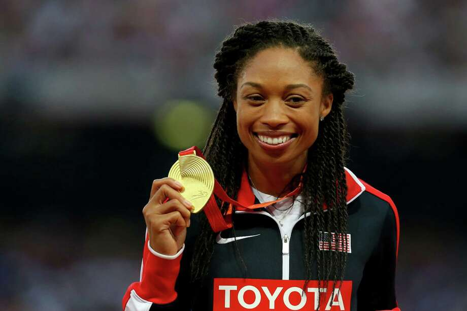 BEIJING, CHINA - AUGUST 28:  Gold medalist Allyson Felix of the United States poses on the podium during the medal ceremony for the Women's 400 metres final during day seven of the 15th IAAF World Athletics Championships Beijing 2015 at Beijing National Stadium on August 28, 2015 in Beijing, China.  (Photo by Alexander Hassenstein/Getty Images for IAAF) Photo: Alexander Hassenstein, Staff / 2015 Getty Images