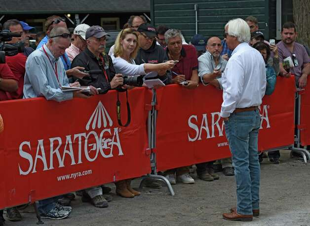 Trainer Bob Baffert meets the media this Sunday morning Aug. 30, 2015 at the Terranova Racing Stable barns at the Saratoga Race Course in Saratoga Springs, N.Y.    (Skip Dickstein/Times Union) Photo: SKIP DICKSTEIN / 00033110A