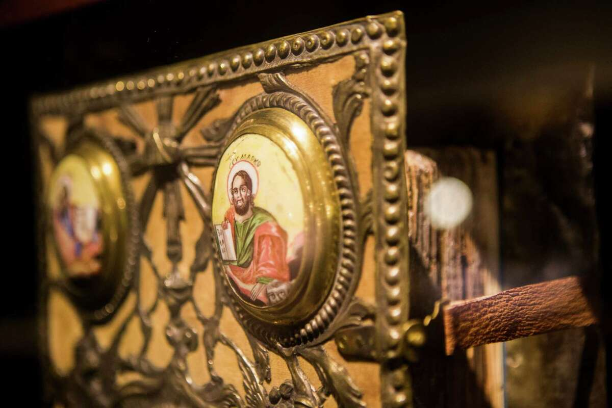 Commemorative Bible given to Katherine the Great created in 1776 and currently being exhibited at the Dunham Bible Museum. Tuesday, Aug. 4, 2015, in Houston. ( Marie D. De Jesus / Houston Chronicle )