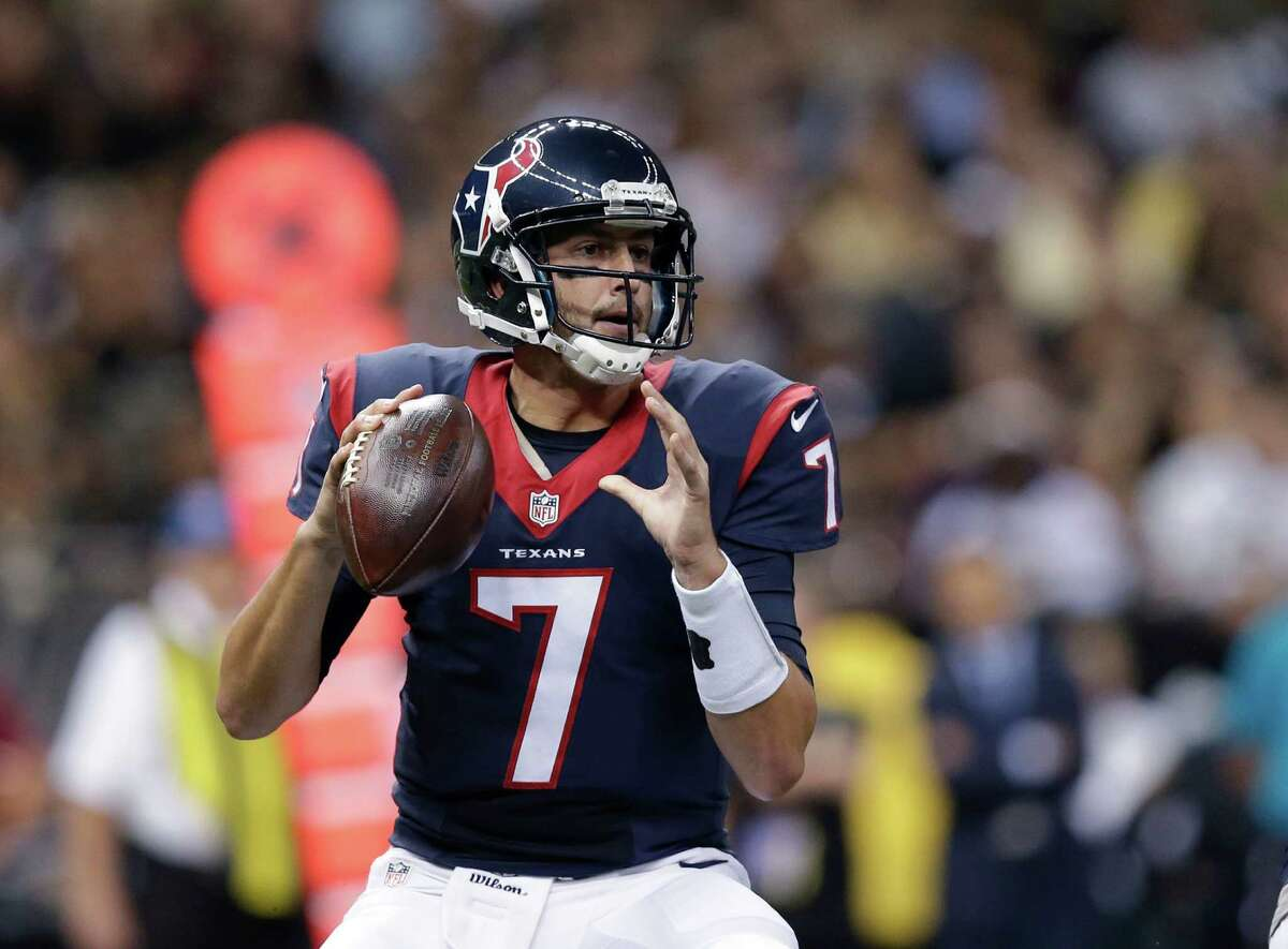 Houston Texans quarterback Brian Hoyer (7) drops back to pass in the first half of a preseason NFL football game against the New Orleans Saints in New Orleans, Sunday, Aug. 30, 2015. (AP Photo/Brynn Anderson)