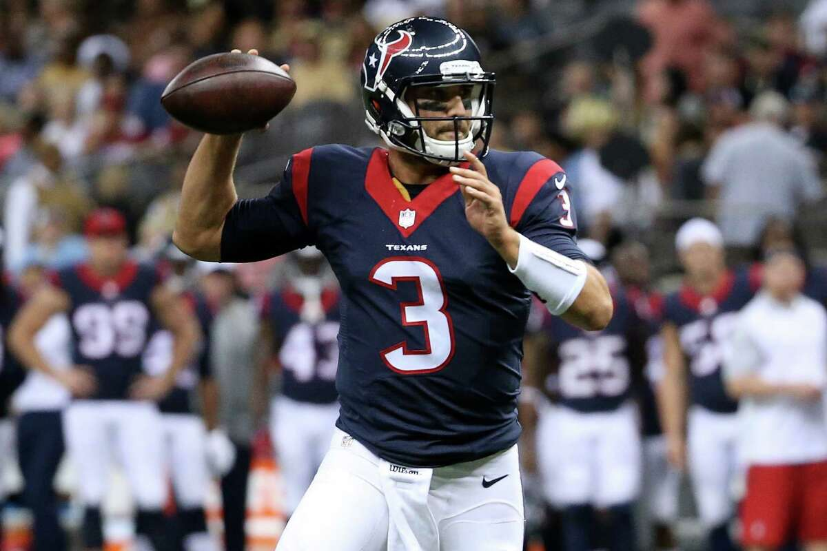 NEW ORLEANS, LA - AUGUST 30: Tom Savage #3 of the Houston Texans throws a pass against the New Orleans Saintsat the Mercedes-Benz Superdome on August 30, 2015 in New Orleans, Louisiana. (Photo by Chris Graythen/Getty Images)