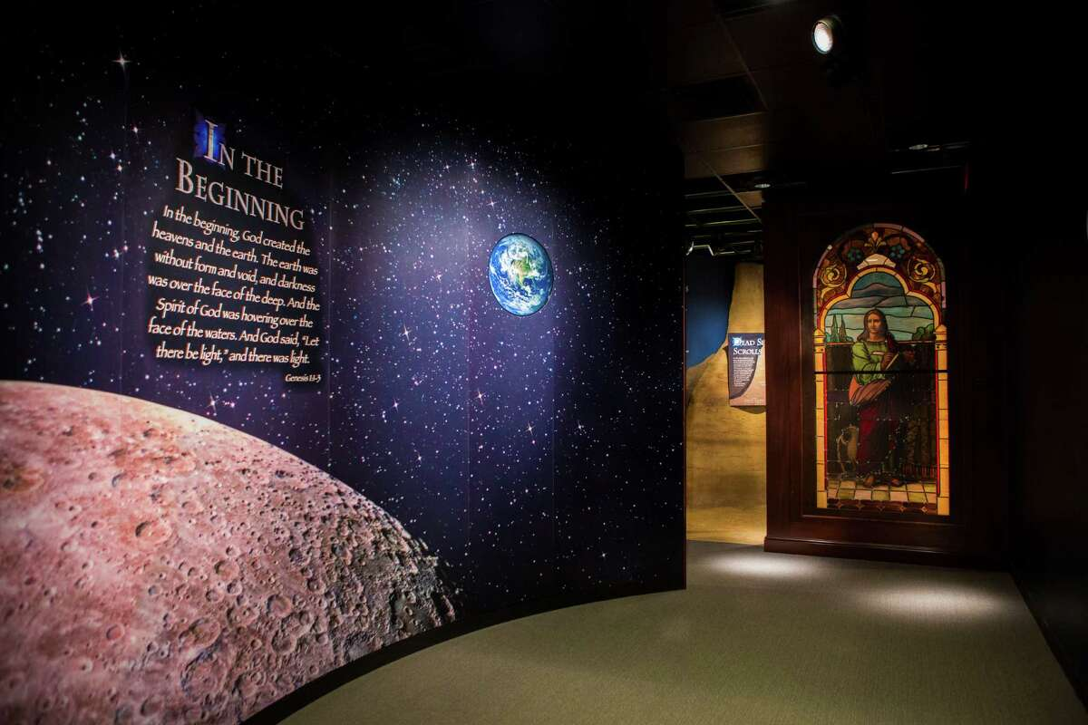 Decoratively illuminated section speaking about the beginning of creation according to the Bible at The Dunham Bible Museum, Tuesday, Aug. 4, 2015, in Houston.