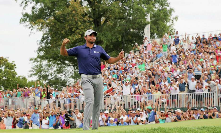 EDISON, NJ - AUGUST 30:  Jason Day of Australia celebrates on the 18th green after his six-stroke victory at The Barclays at Plainfield Country Club on August 30, 2015 in Edison, New Jersey.  (Photo by Hunter Martin/Getty Images) ORG XMIT: 527948757 Photo: Hunter Martin / 2015 Getty Images