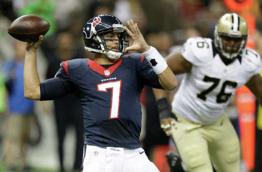 Houston Texans quarterback Brian Hoyer (7) throws a pass against the New Orleans Saints during the first quarter of an NFL pre-season football game at the Mercedes-Benz Superdome on Sunday, Aug. 30, 2015, in New Orleans. ( Brett Coomer / Houston Chronicle ) Photo: Brett Coomer, Staff / © 2015  Houston Chronicle