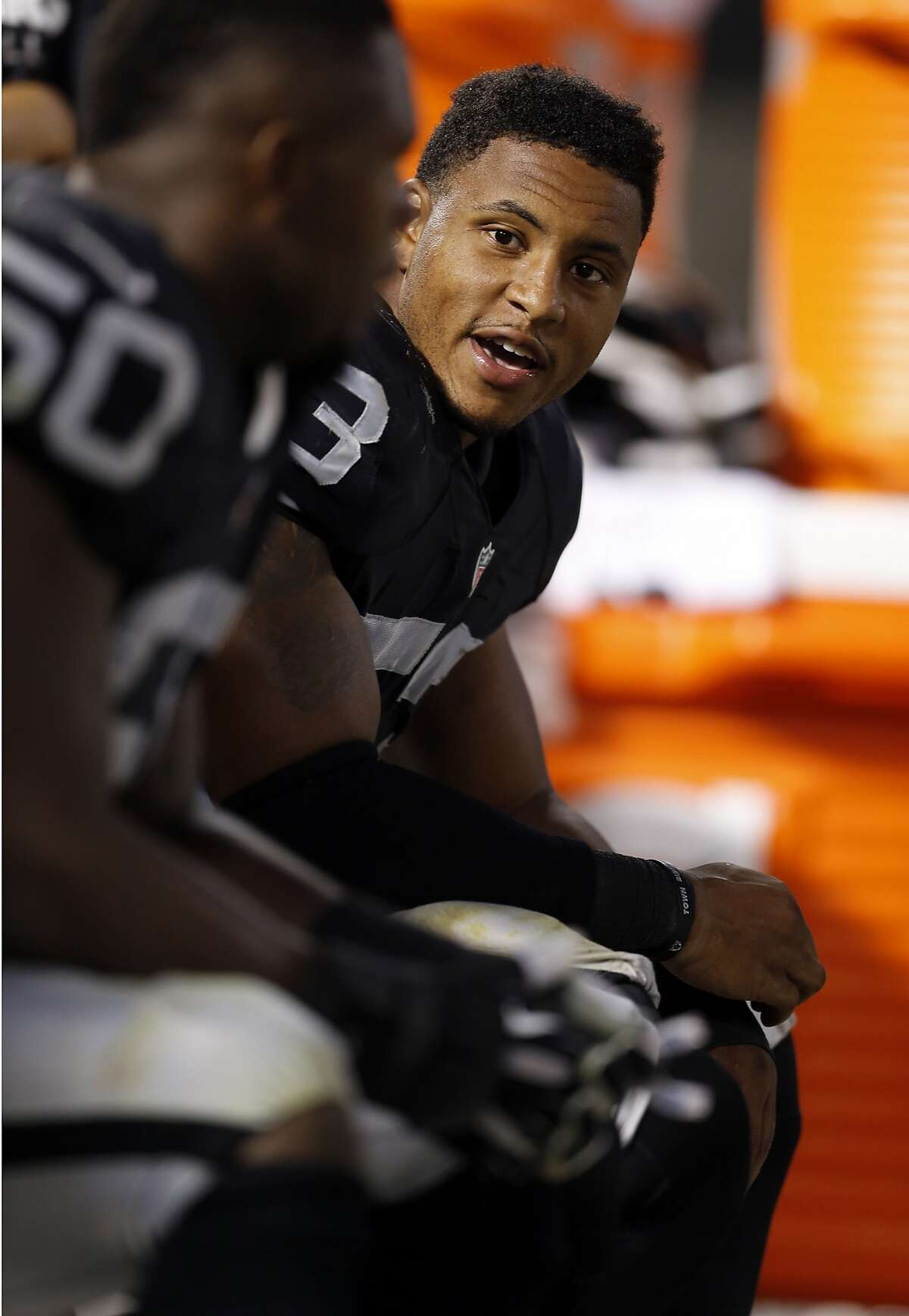 Oakland Raiders' Malcolm Smith in 4th quarter of 30-23 loss to Arizona Cardinals in preseason game at O.co Coliseum in Oakland, Calif., on Sunday, Aug. 30, 2015.