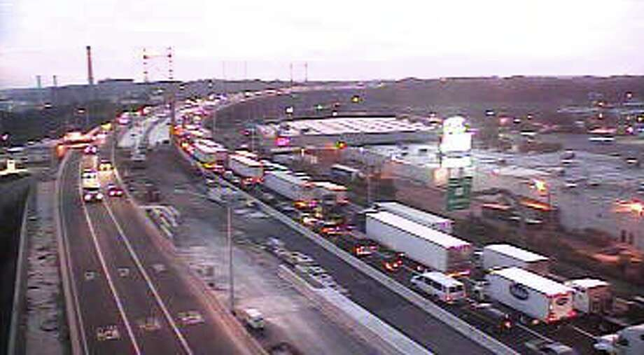 A traffic cam on I-95 near exit 32 shows traffic backed up as the result of a truck fire that closed the highway early Monday, Aug. 31, 2015.