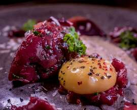 The Axiz Deer Tartare at Dirty Water in San Francisco, Calif., is seen on August 20th, 2015.