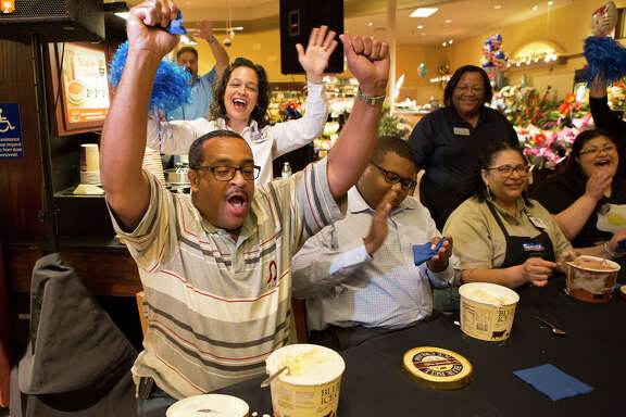 Darryl Savannah reacts after winning a Blue Bell ice cream eating contest at Randalls on Holcombe along Buffalo Speedway, Monday, Aug. 31, 2015, in Houston.