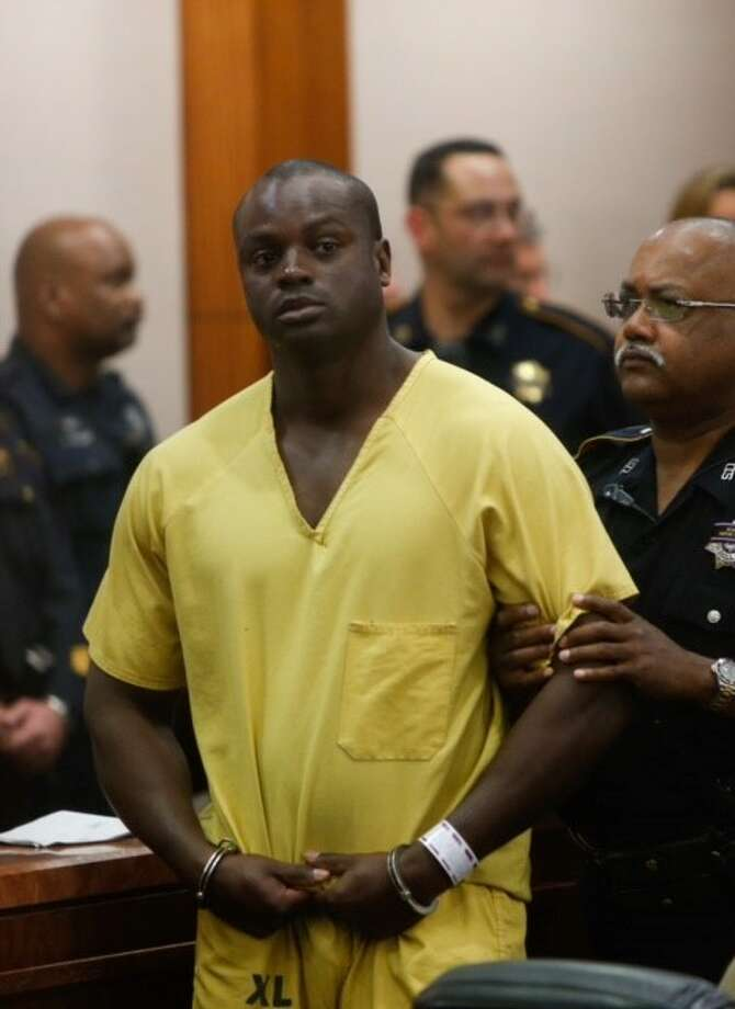 Shannon Miles is shown in court in Houston on Monday. He has been charged with capital murder in the death of Harris County Sheriff's Deputy Darren Goforth.