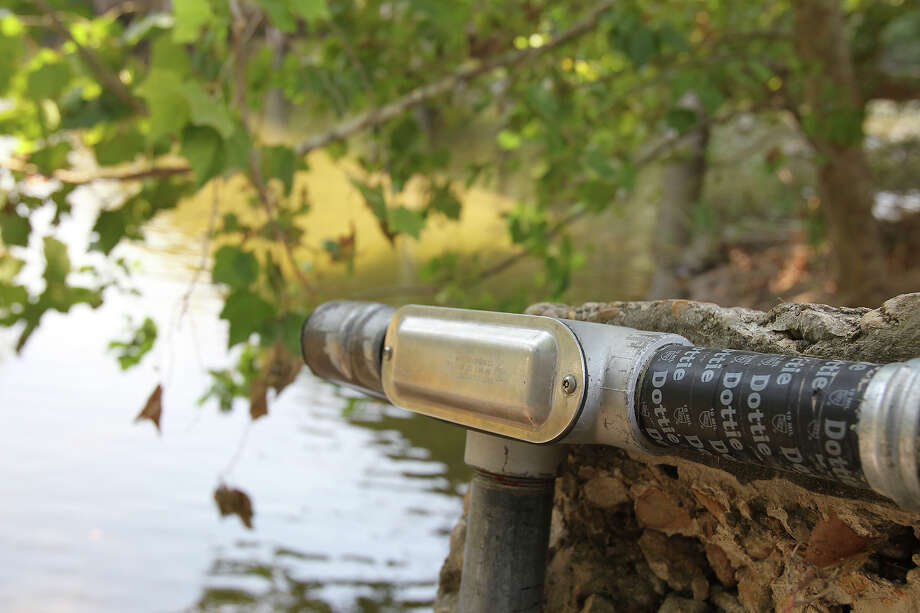 One of the sensor mechanisms that is part of the new flood warning systems on the Guadalupe River. Photo: Tom Reel /San Antonio Express-News
