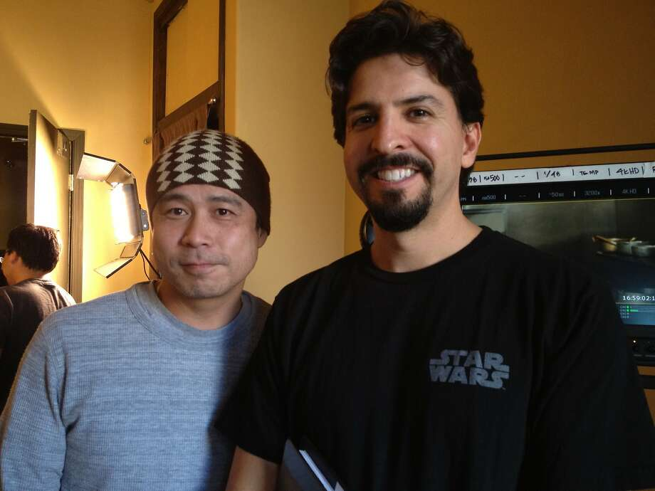 "East Side Sushi 1.jpg ""East Side Sushi"" writer/director Anthony Lucero (right) with Chikara Ono, owner of B-Dama Japanese restaurant in Oakland. Ono allowed Lucero to film in his kitchen, free of charge. ""East Side Sushi"" opens in Bay Area theaters on Friday, September 18. Photo: Courtesy Anthony Lucero."