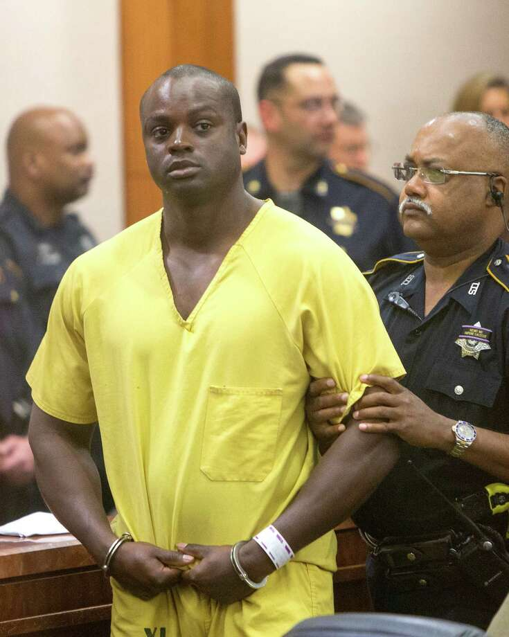 "Shannon Miles appears in the 208th State District Court for his arraignment at the Harris County Criminal Courthouse, Monday, Aug. 31, 2015, in Houston. Harris County District Attorney Devon Anderson said Miles, 30, fatally shot Deputy Darren Goforth after he refueled his police cruiser at a gas station. ""They found Deputy Darren Goforth face down in a pool of his own blood,"" Harris County District Attorney Devon Anderson told state District Judge Denise Collins. Photo: Cody Duty, Houston Chronicle / © 2015 Houston Chronicle"
