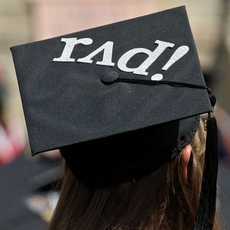 Part of a collection of photographs of decorated mortarboards from the 2015 Fairfield University Commencement held on  Sunday morning, May 17, 2015, in Fairfield, Conn. Photo: H John Voorhees III / H John Voorhees III / The News-Times