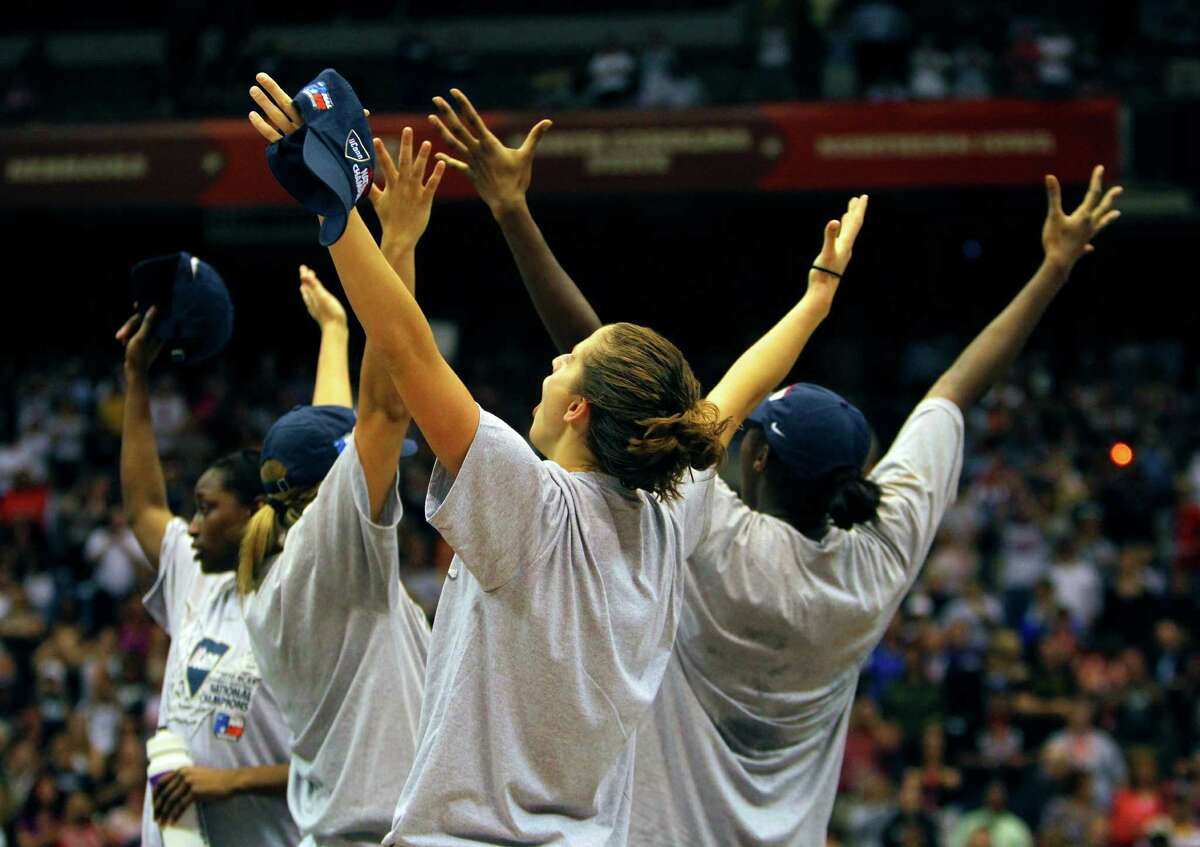 Connecticut's players celebrate on April 6, 2010, at the Alamodome after winning the NCAA Women's Final Four championship game against Stanford.