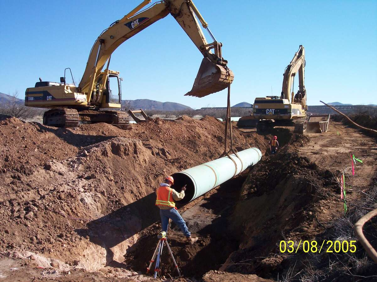 Sewer pipelines are laid for system improvements in Bisbee, Ariz,, financed by the San Antonio-based North American Development Bank.